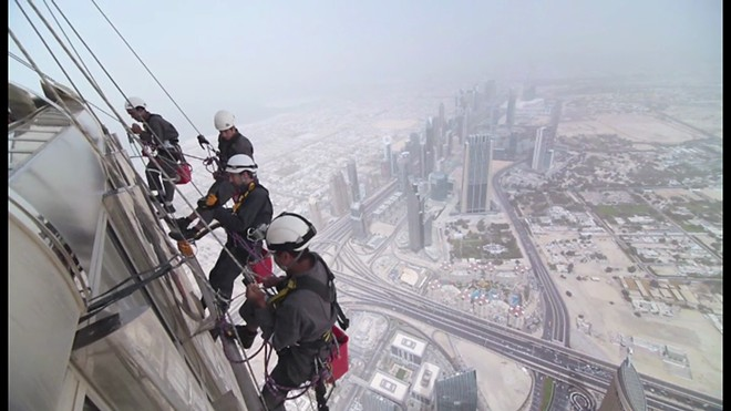 window cleaning at a great height